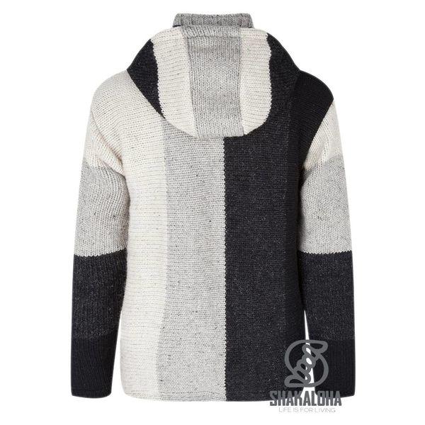 Shakaloha Shakaloha Knitted Woolen Jacket Riser Natural colors with Fleece Lining and Detachable Hood - Men - Unisex - Handmade in Nepal from sheep's wool