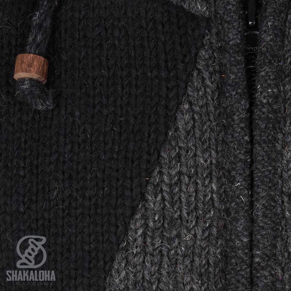 Shakaloha Shakaloha Wolljacke - Strickjacke Riser Schwarz mit Fleece-Futter und Abnehmbarer Kapuze - Herren - Uni - Handgemacht in Nepal aus Schafwolle
