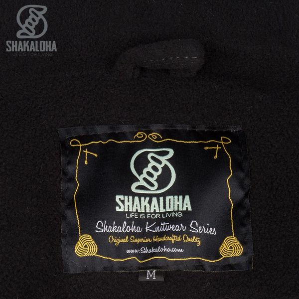 Shakaloha Shakaloha Knitted Woolen Jacket Riser Black with Fleece Lining and Detachable Hood - Men - Unisex - Handmade in Nepal from sheep's wool