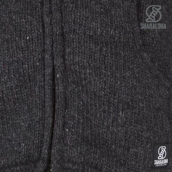 Shakaloha Shakaloha Wolljacke - Strickjacke Flow Ziphood Anthrazit mit Fleece-Futter und Abnehmbarer Kapuze - Herren - Uni - Handgemacht in Nepal aus Schafwolle