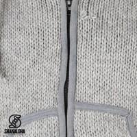 Shakaloha Shakaloha Gebreid Wollen Vest Flow Ziphood Grijs met Fleece Voering en Afneembare Capuchon - Man/Uni - Handgemaakt in Nepal van Schapenwol