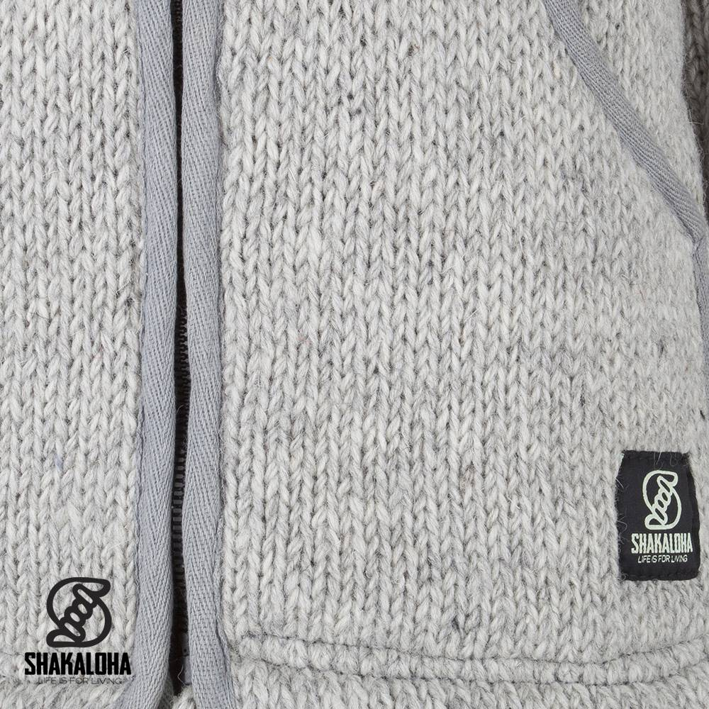 Shakaloha Shakaloha Wolljacke - Strickjacke Flow Ziphood Grau mit Fleece-Futter und Abnehmbarer Kapuze - Herren - Uni - Handgemacht in Nepal aus Schafwolle