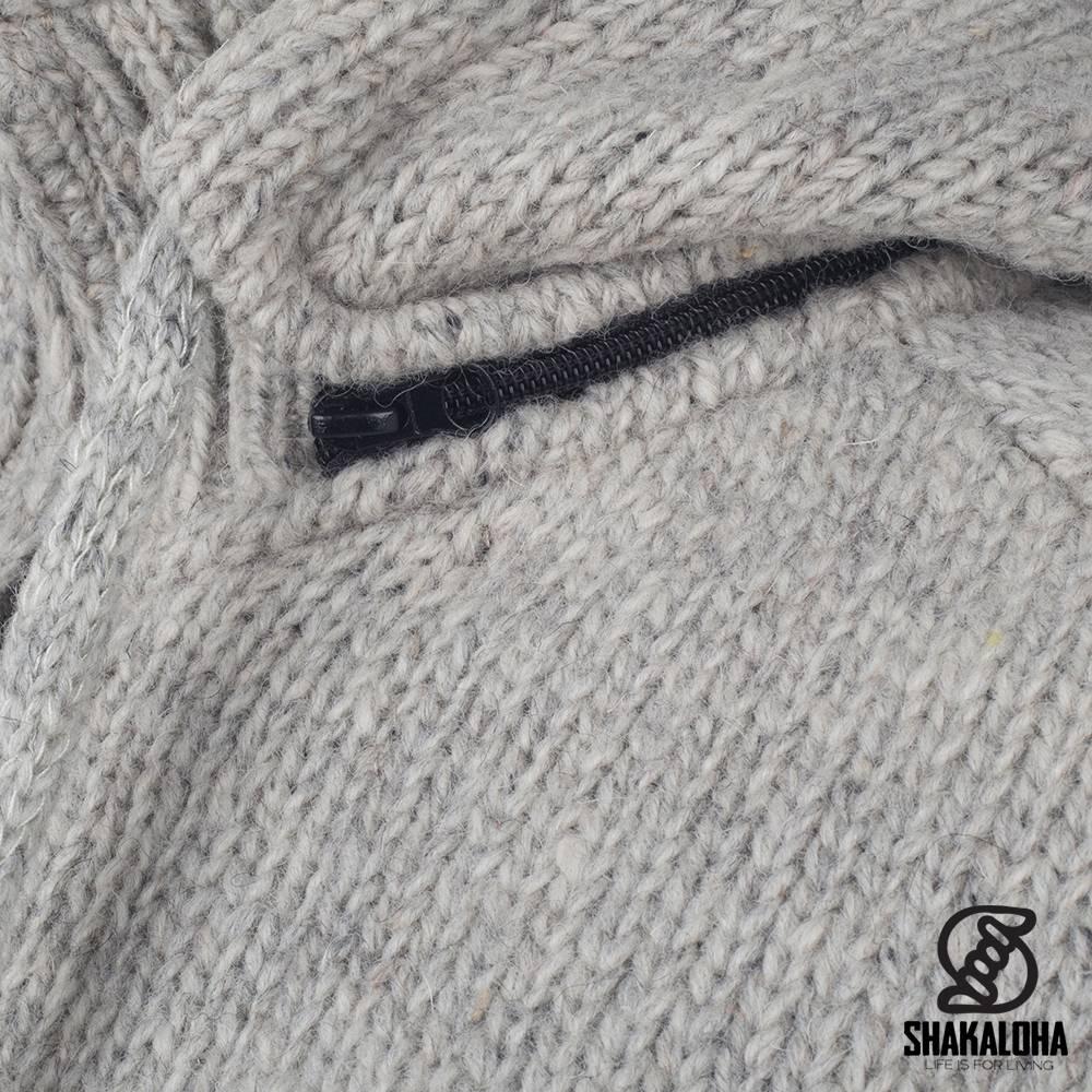 Shakaloha Shakaloha Veste en Laine Tricoté Radical Ziphood gris avec Doublure en polaire et Capuche détachable - Hommes - Uni - Fabriqué à la main au Népal en laine de mouton