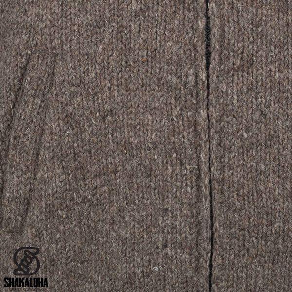 Shakaloha Shakaloha Knitted Woolen Jacket Radical Ziphood Light Brown Taupe with Fleece Lining and Detachable Hood - Men - Unisex - Handmade in Nepal from sheep's wool