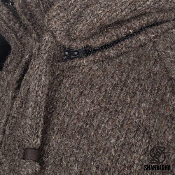 Shakaloha Shakaloha Wolljacke - Strickjacke Radical Ziphood Hellbraune Taupe mit Fleece-Futter und Abnehmbarer Kapuze - Herren - Uni - Handgemacht in Nepal aus Schafwolle