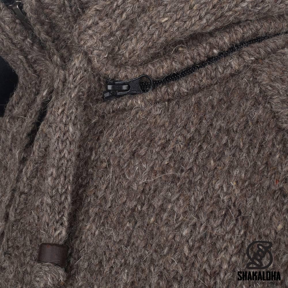 Shakaloha Shakaloha Veste en Laine Tricoté Radical Ziphood Taupe marron clair avec Doublure en polaire et Capuche détachable - Hommes - Uni - Fabriqué à la main au Népal en laine de mouton