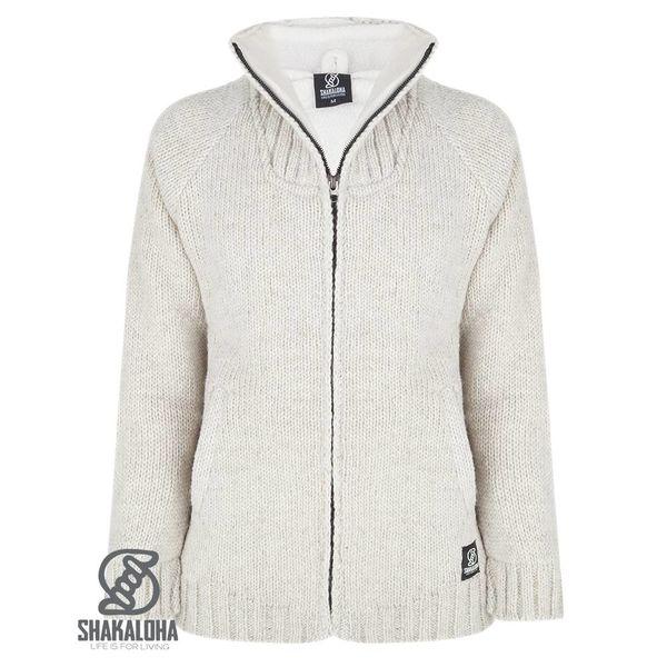 Shakaloha Shakaloha Gebreid Wollen Vest Vertical Collar Beige Crème met Fleece Voering en Hoge Kraag - Man/Uni - Handgemaakt in Nepal van Schapenwol