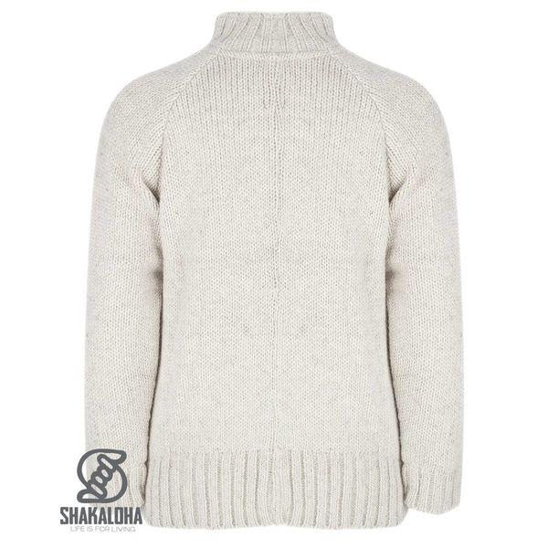 Shakaloha Shakaloha Knitted Woolen Jacket Vertical Collar Beige Cream with Fleece Lining and High Collar - Men - Unisex - Handmade in Nepal from sheep's wool