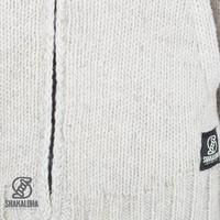 Shakaloha Shakaloha Wolljacke - Strickjacke Vertical Collar Beige Creme mit Fleece-Futter und hohem Kragen - Herren - Uni - Handgemacht in Nepal aus Schafwolle