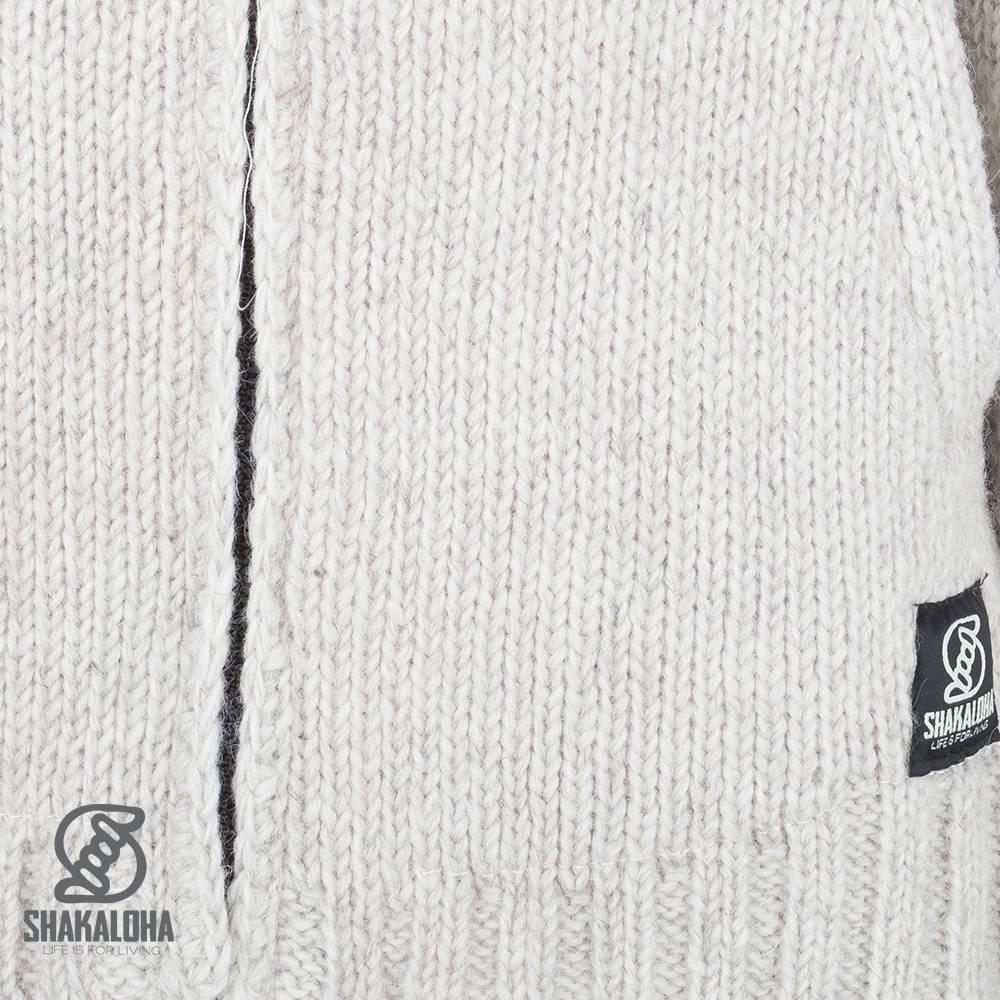 Shakaloha Shakaloha Veste en Laine Tricoté Vertical Collar Crème beige avec Doublure en polaire et Col haut - Hommes - Uni - Fabriqué à la main au Népal en laine de mouton