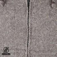 Shakaloha Shakaloha Wolljacke - Strickjacke Flash Ziphood Hellbraune Taupe mit Fleece-Futter und Abnehmbarer Kapuze - Herren - Uni - Handgemacht in Nepal aus Schafwolle