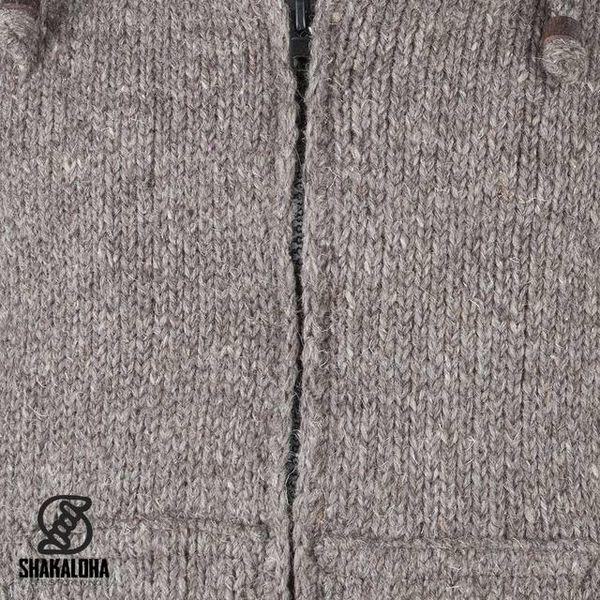 Shakaloha Shakaloha Gebreid Wollen Vest Flash Ziphood Licht Bruin Taupe met Fleece Voering en Afneembare Capuchon - Man/Uni - Handgemaakt in Nepal van Schapenwol