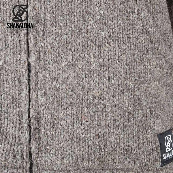 Shakaloha Shakaloha Knitted Woolen Jacket Flash Ziphood Light Brown Taupe with Fleece Lining and Detachable Hood - Men - Unisex - Handmade in Nepal from sheep's wool