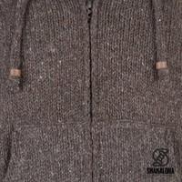 Shakaloha Shakaloha Gebreid Wollen Vest Flash Ziphood Donker Bruin met Fleece Voering en Afneembare Capuchon - Man/Uni - Handgemaakt in Nepal van Schapenwol