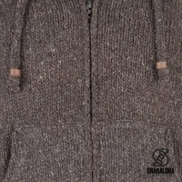 Shakaloha Shakaloha Wolljacke - Strickjacke Flash Ziphood Dunkelbraun mit Fleece-Futter und Abnehmbarer Kapuze - Herren - Uni - Handgemacht in Nepal aus Schafwolle
