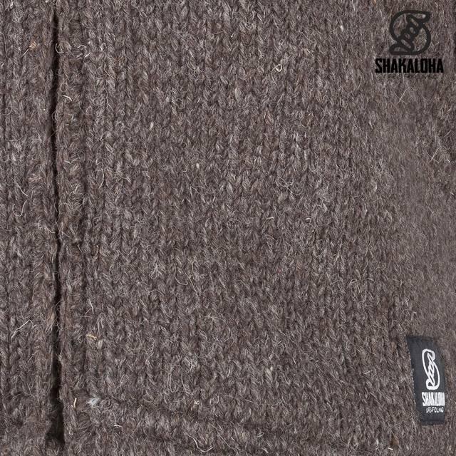 Shakaloha Shakaloha Veste en Laine Tricoté Flash Ziphood Marron foncé avec Doublure en polaire et Capuche détachable - Hommes - Uni - Fabriqué à la main au Népal en laine de mouton