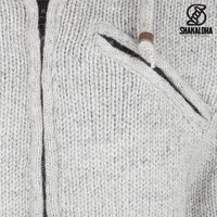 Shakaloha Shakaloha Veste en Laine Tricoté Chitwan Classic gris avec Doublure en polaire et Capuche - Hommes - Uni - Fabriqué à la main au Népal en laine de mouton