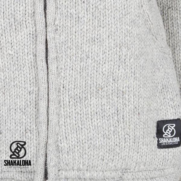 Shakaloha Shakaloha Wolljacke - Strickjacke Chitwan Classic Grau mit Fleece-Futter und Kapuze - Herren - Uni - Handgemacht in Nepal aus Schafwolle