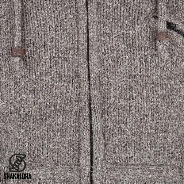 Shakaloha Shakaloha Knitted Woolen Jacket Chitwan Classic Light Brown Taupe with Fleece Lining and Hood - Men - Unisex - Handmade in Nepal from sheep's wool