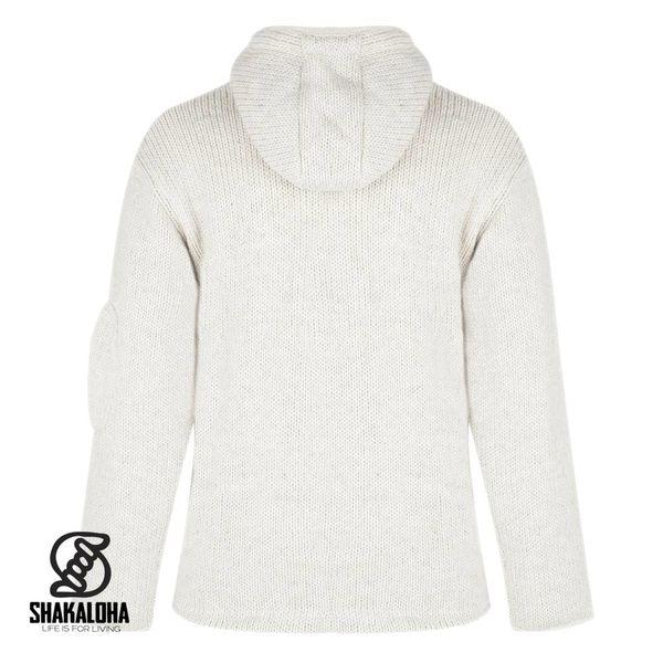 Shakaloha Shakaloha Knitted Woolen Jacket Chitwan Classic Beige Cream with Fleece Lining and Hood - Men - Unisex - Handmade in Nepal from sheep's wool