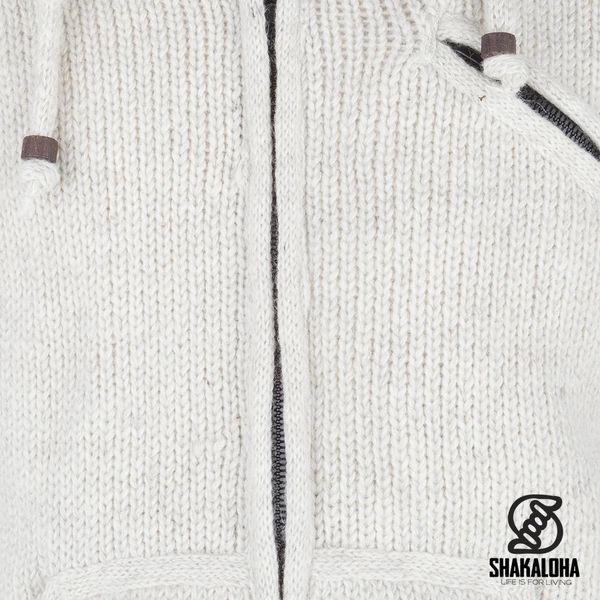 Shakaloha Shakaloha Wolljacke - Strickjacke Chitwan Classic Beige Creme mit Fleece-Futter und Kapuze - Herren - Uni - Handgemacht in Nepal aus Schafwolle