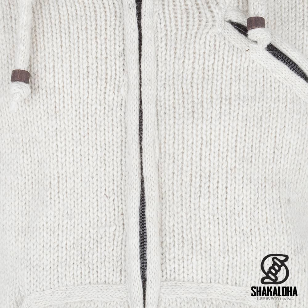 Shakaloha Shakaloha Gebreid Wollen Vest Chitwan Classic Beige Crème met Fleece Voering en Capuchon - Man/Uni - Handgemaakt in Nepal van Schapenwol