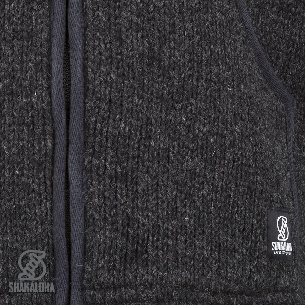 Shakaloha Shakaloha Gebreid Wollen Vest Gadi Classic Antraciet met Fleece Voering en Capuchon - Man/Uni - Handgemaakt in Nepal van Schapenwol