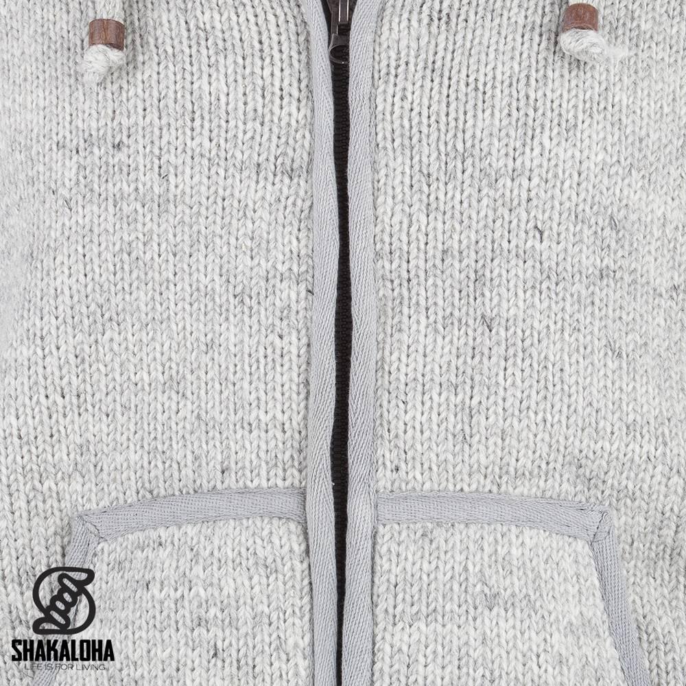 Shakaloha Shakaloha Veste en Laine Tricoté Gadi Classic gris avec Doublure en polaire et Capuche - Hommes - Uni - Fabriqué à la main au Népal en laine de mouton