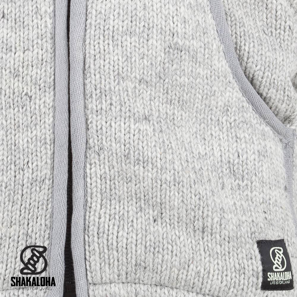 Shakaloha Shakaloha Wolljacke - Strickjacke Gadi Classic Grau mit Fleece-Futter und Kapuze - Herren - Uni - Handgemacht in Nepal aus Schafwolle