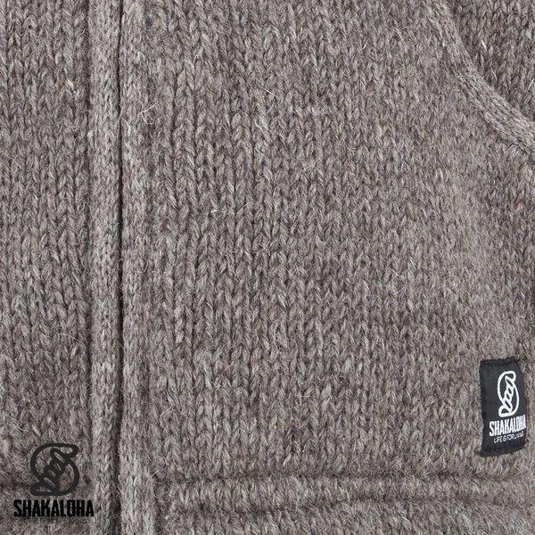 Shakaloha Shakaloha Gebreid Wollen Vest Gadi Classic Licht Bruin Taupe met Fleece Voering en Capuchon - Man/Uni - Handgemaakt in Nepal van Schapenwol