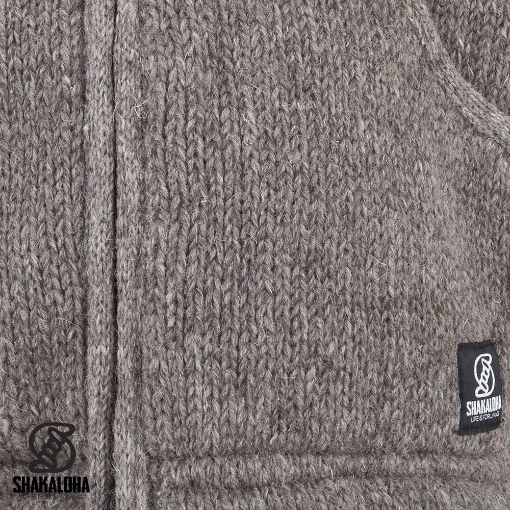 Shakaloha Shakaloha Veste en Laine Tricoté Gadi Classic Taupe marron clair avec Doublure en polaire et Capuche - Hommes - Uni - Fabriqué à la main au Népal en laine de mouton