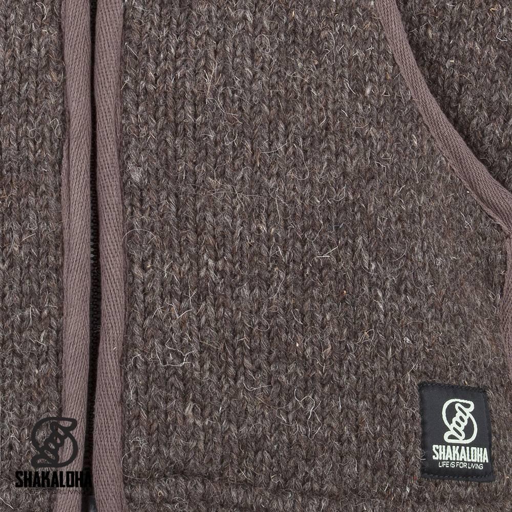 Shakaloha Shakaloha Gebreid Wollen Vest Gadi Classic Donker Bruin met Fleece Voering en Capuchon - Man/Uni - Handgemaakt in Nepal van Schapenwol