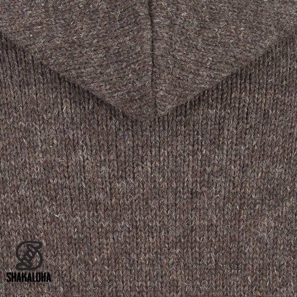 Shakaloha Shakaloha Veste en Laine Tricoté Gadi Classic Marron foncé avec Doublure en polaire et Capuche - Hommes - Uni - Fabriqué à la main au Népal en laine de mouton