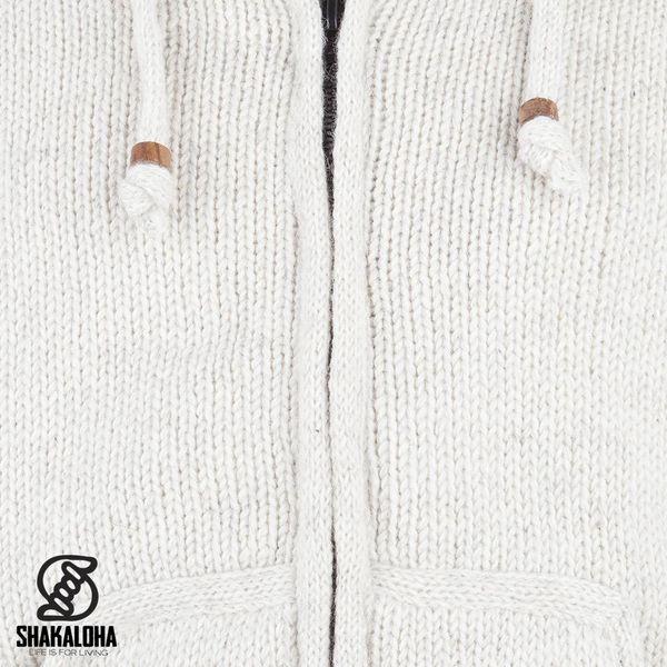 Shakaloha Shakaloha Wolljacke - Strickjacke Gadi Classic Beige Creme mit Fleece-Futter und Kapuze - Herren - Uni - Handgemacht in Nepal aus Schafwolle