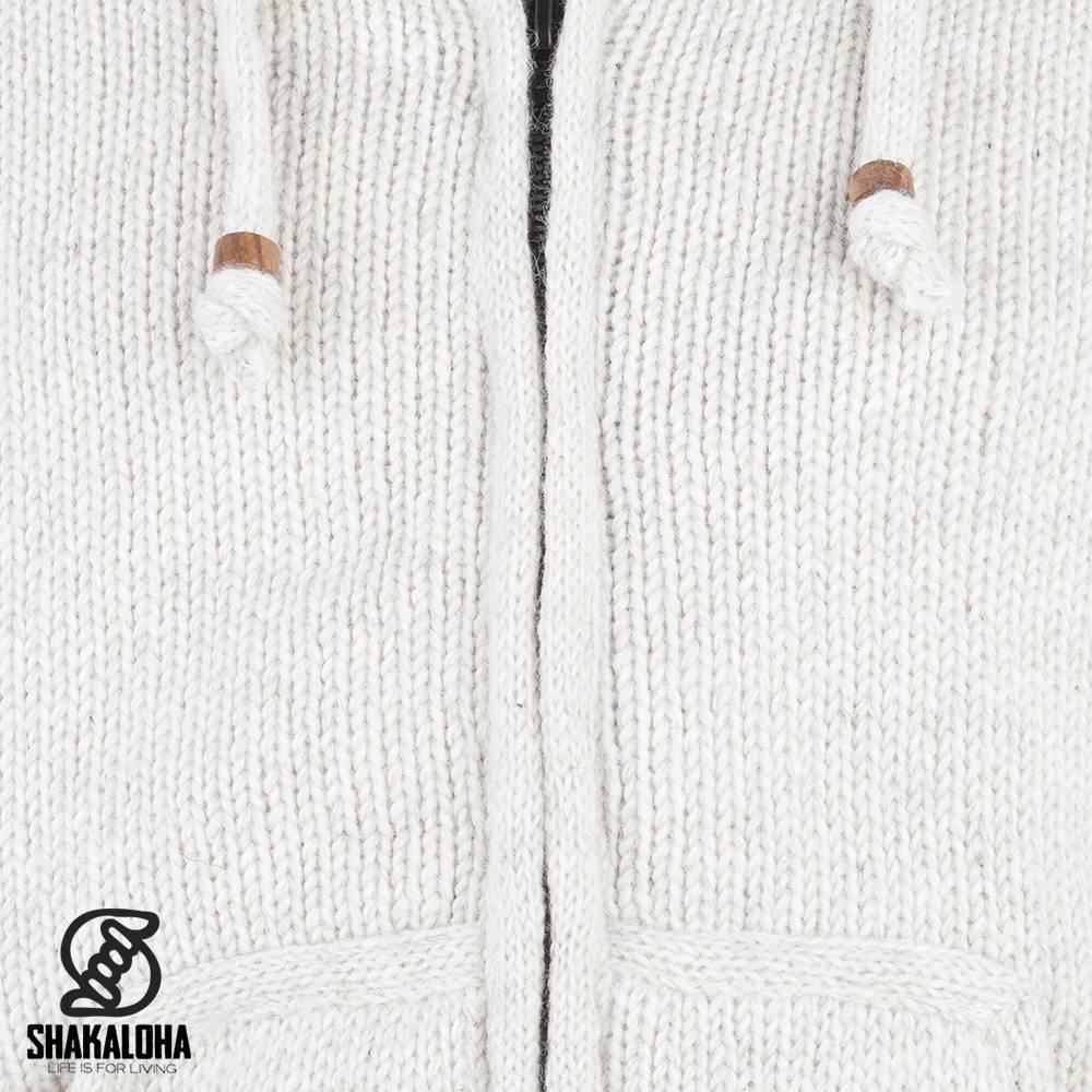 Shakaloha Shakaloha Gebreid Wollen Vest Gadi Classic Beige Crème met Fleece Voering en Capuchon - Man/Uni - Handgemaakt in Nepal van Schapenwol