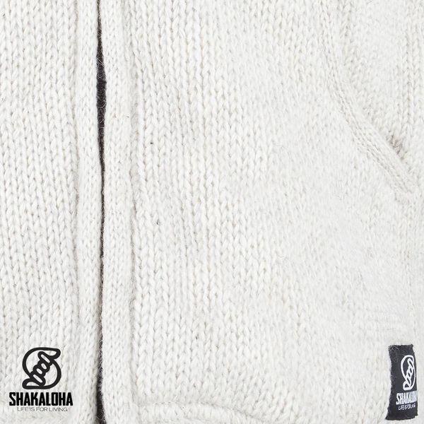 Shakaloha Shakaloha Veste en Laine Tricoté Gadi Classic Crème beige avec Doublure en polaire et Capuche - Hommes - Uni - Fabriqué à la main au Népal en laine de mouton