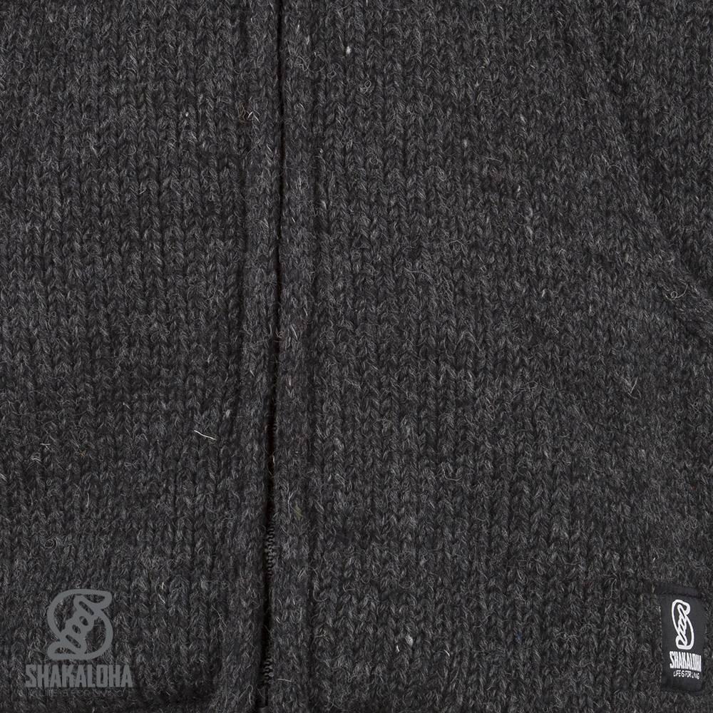 Shakaloha Shakaloha Gebreid Wollen Vest Parsa Classic Antraciet met Fleece Voering en Hoge Kraag - Man/Uni - Handgemaakt in Nepal van Schapenwol