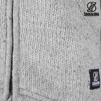 Shakaloha Shakaloha Veste en Laine Tricoté Parsa Classic gris avec Doublure en polaire et Col haut - Hommes - Uni - Fabriqué à la main au Népal en laine de mouton