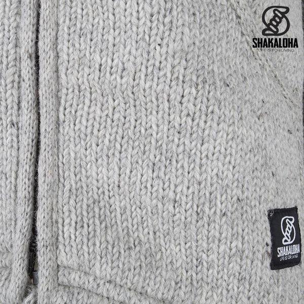 Shakaloha Shakaloha Wolljacke - Strickjacke Parsa Classic Grau mit Fleece-Futter und hohem Kragen - Herren - Uni - Handgemacht in Nepal aus Schafwolle