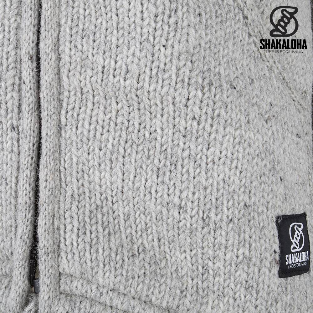 Shakaloha Shakaloha Gebreid Wollen Vest Parsa Classic Grijs met Fleece Voering en Hoge Kraag - Man/Uni - Handgemaakt in Nepal van Schapenwol