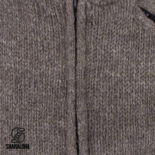 Shakaloha Shakaloha Wolljacke - Strickjacke Parsa Classic Hellbraune Taupe mit Fleece-Futter und hohem Kragen - Herren - Uni - Handgemacht in Nepal aus Schafwolle