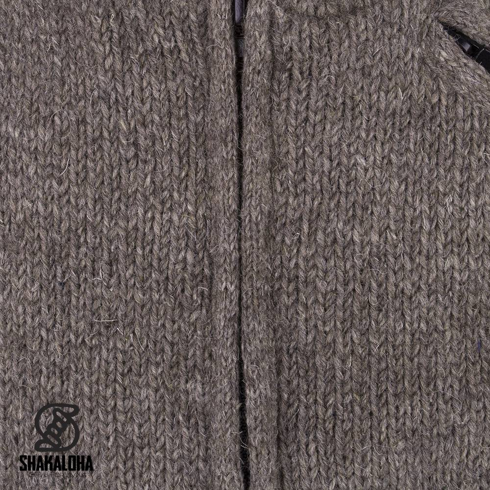 Shakaloha Shakaloha Gebreid Wollen Vest Parsa Classic Licht Bruin Taupe met Fleece Voering en Hoge Kraag - Man/Uni - Handgemaakt in Nepal van Schapenwol