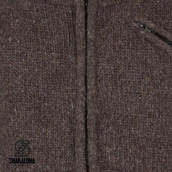 Shakaloha Shakaloha Gebreid Wollen Vest Parsa Classic Donker Bruin met Fleece Voering en Hoge Kraag - Man/Uni - Handgemaakt in Nepal van Schapenwol