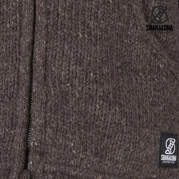 Shakaloha Shakaloha Wolljacke - Strickjacke Parsa Classic Dunkelbraun mit Fleece-Futter und hohem Kragen - Herren - Uni - Handgemacht in Nepal aus Schafwolle