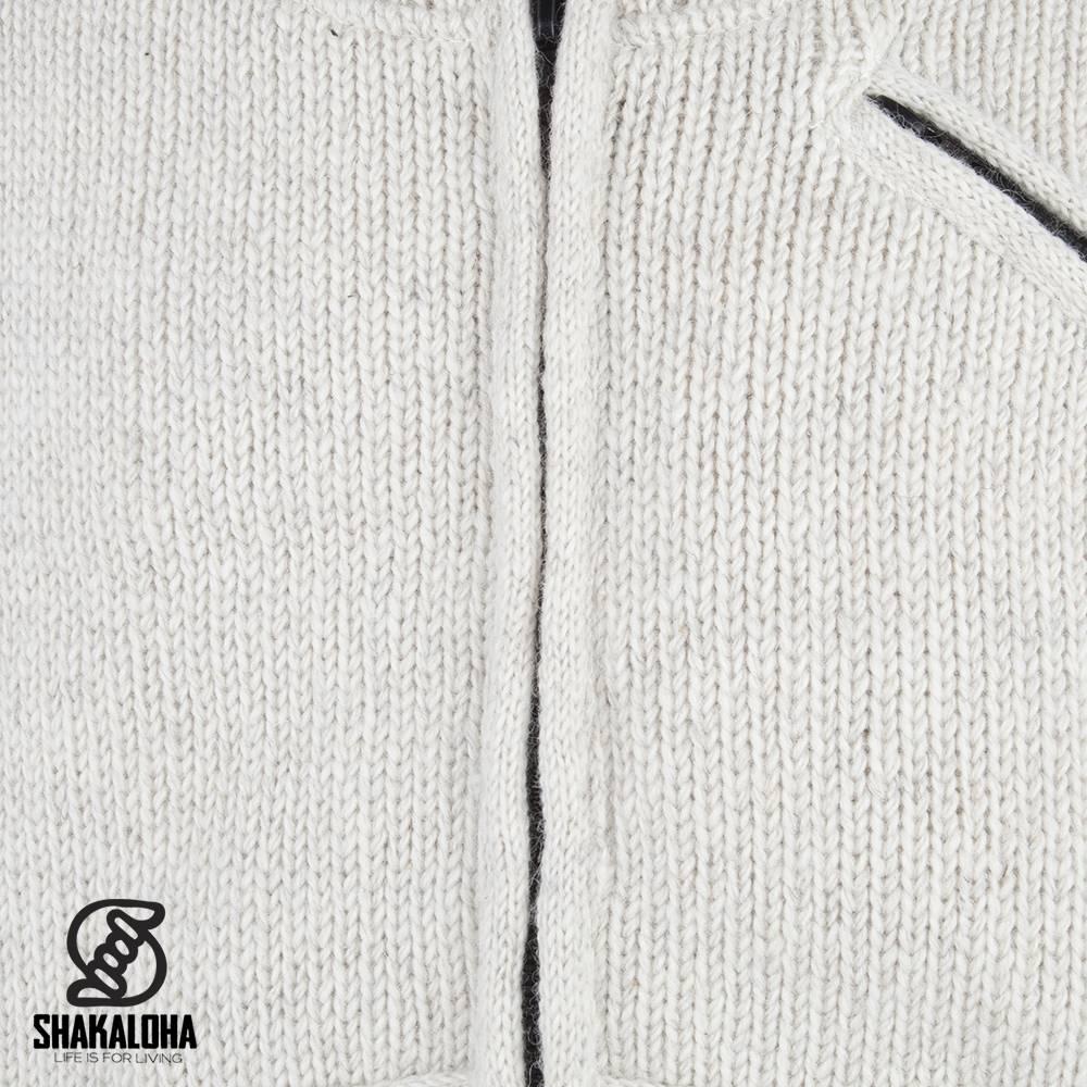 Shakaloha Shakaloha Wolljacke - Strickjacke Parsa Classic Beige Creme mit Fleece-Futter und hohem Kragen - Herren - Uni - Handgemacht in Nepal aus Schafwolle