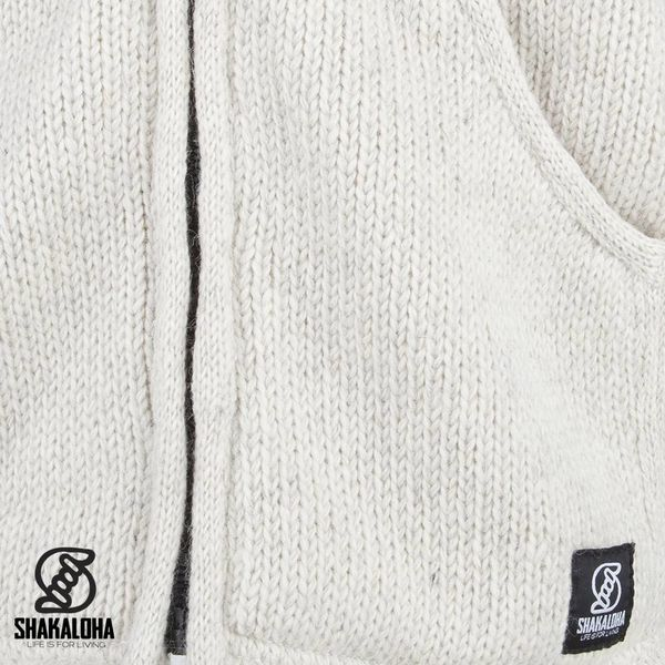 Shakaloha Shakaloha Gebreid Wollen Vest Parsa Classic Beige Crème met Fleece Voering en Hoge Kraag - Man/Uni - Handgemaakt in Nepal van Schapenwol