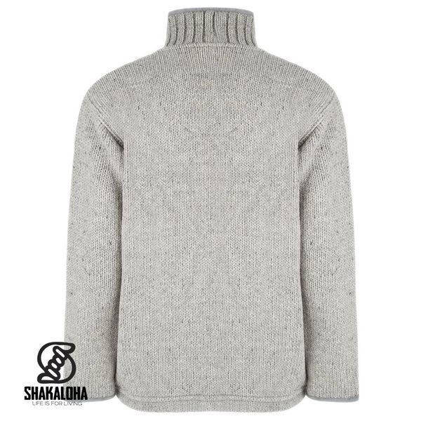 Shakaloha Shakaloha Knitted Woolen Jacket Harta Classic Gray with Fleece Lining and High Collar - Men - Unisex - Handmade in Nepal from sheep's wool