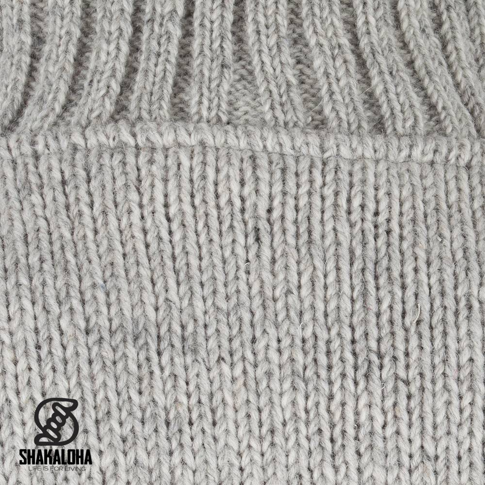 Shakaloha Shakaloha Veste en Laine Tricoté Harta Classic gris avec Doublure en polaire et Col haut - Hommes - Uni - Fabriqué à la main au Népal en laine de mouton
