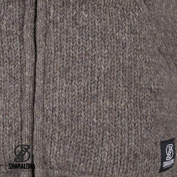 Shakaloha Shakaloha Gebreid Wollen Vest Harta Classic Licht Bruin Taupe met Fleece Voering en Hoge Kraag - Man/Uni - Handgemaakt in Nepal van Schapenwol