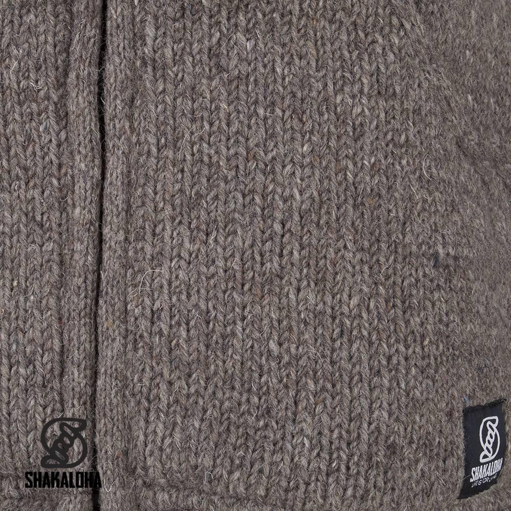 Shakaloha Shakaloha Wolljacke - Strickjacke Harta Classic Hellbraune Taupe mit Fleece-Futter und hohem Kragen - Herren - Uni - Handgemacht in Nepal aus Schafwolle